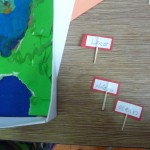 Making the labels for landforms with toothpicks