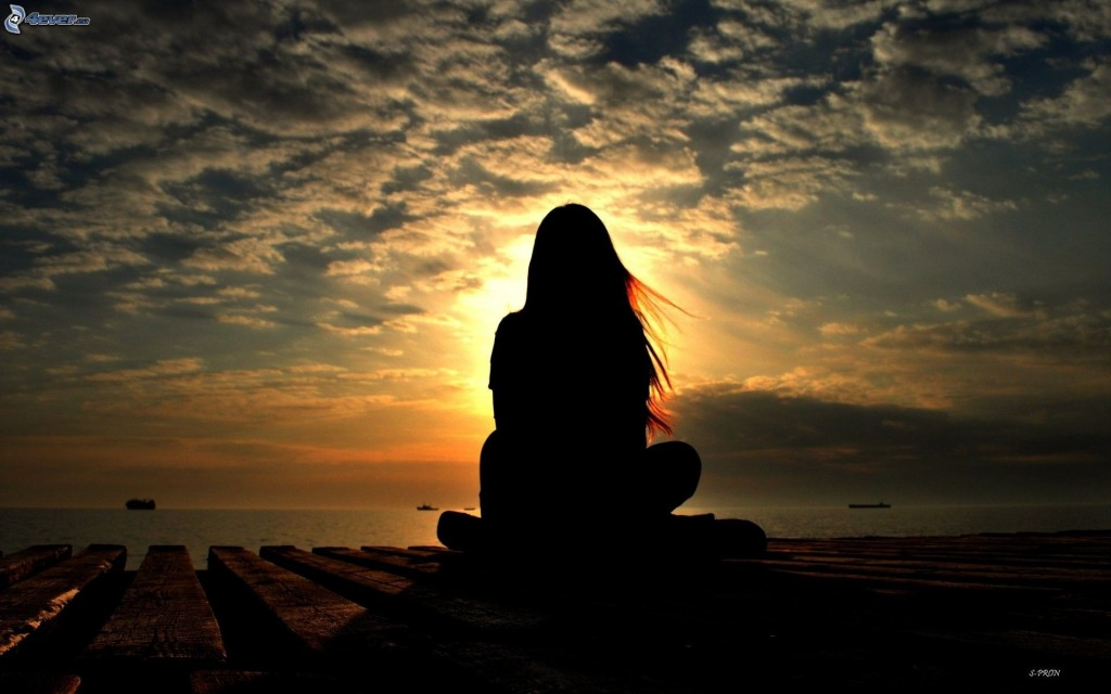 woman silhouette, sunset 163380